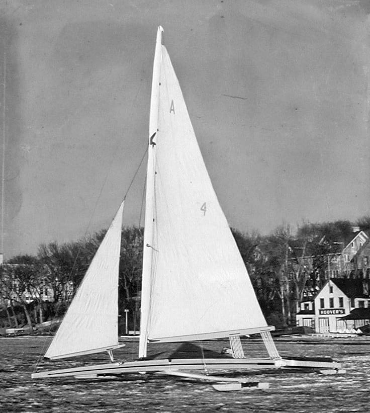 """Just Rigged"" 1948 on Lake Mendota with Bernard Boathouse in background"